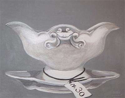No. 30 - Sauskom - Acryl op doek, met witte lijst - 40 x 50 cm - Kittie Markus