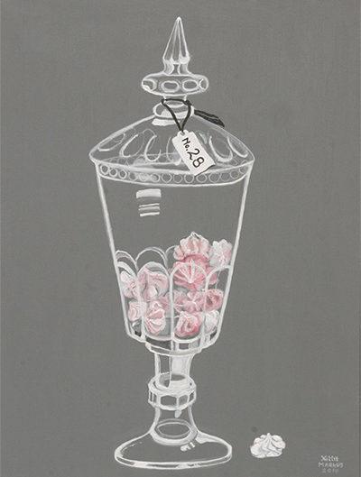 No. 28 - Schuimpjes in glazen pot - Acryl op doek, met witte lijst - 60 x 80 cm - Kittie Markus