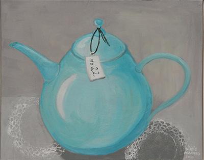 No. 22 - Theepot - Acryl op doek, met witte lijst - 40 x 50 cm - Kittie Markus