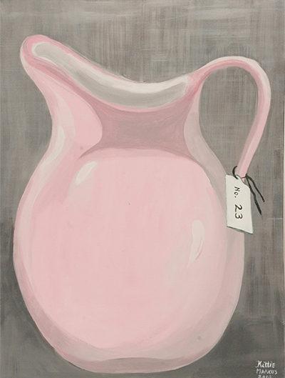 No. 23 - Rose kan in witte lijst - Acryl op doek - 60 x 80 cm - Kittie Markus