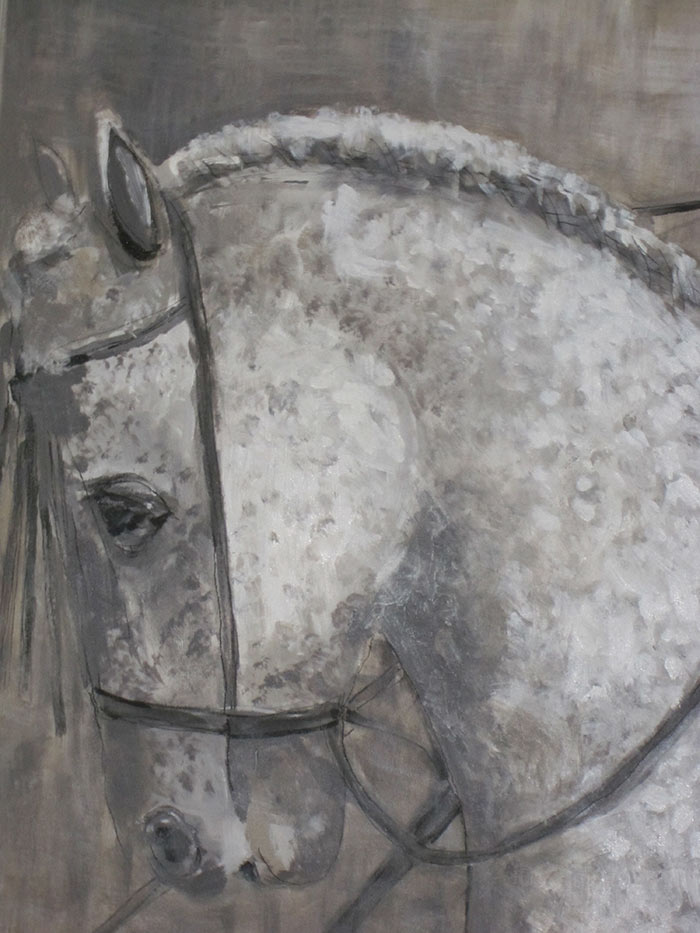 Paard met amazone - Acryl op doek - 140 x 100 cm - Kittie Markus