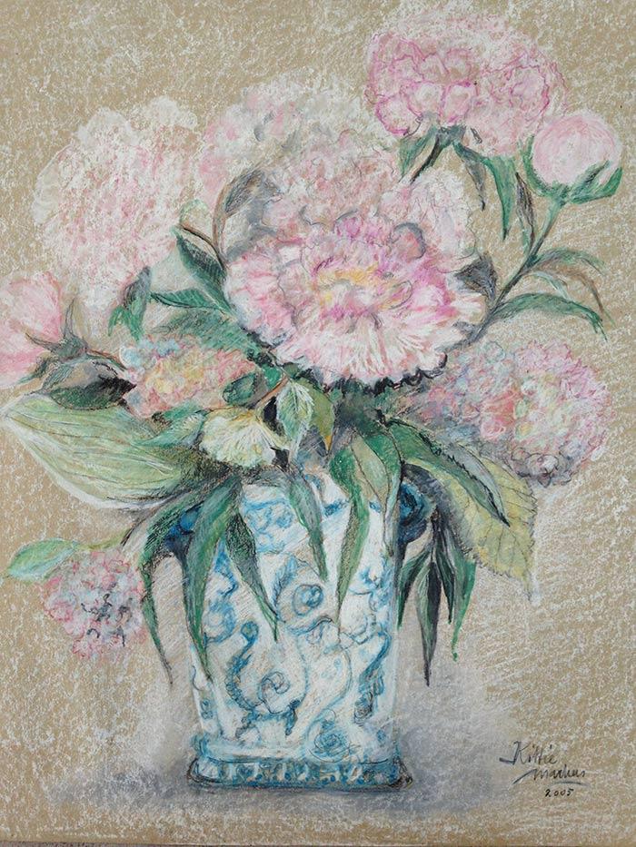 Pioenrozen - Pastelkrijt op papier - 50 x 70 cm - Kittie Markus