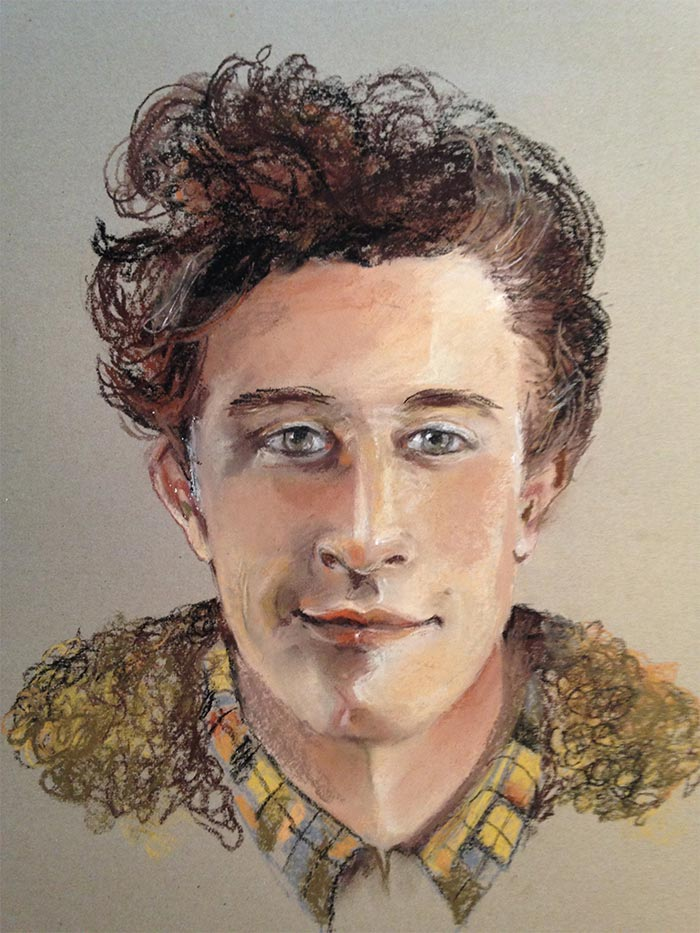 Portret van een kleinzoon - Pastelkrijt op grauw papier - 40 x 60 cm - Kittie Markus