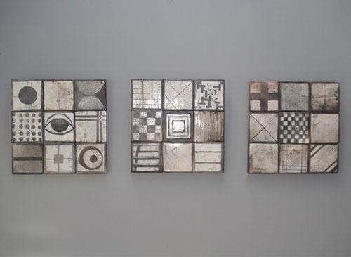 Wandpanelen met tegels - Raku gestookt - Kittie Markus