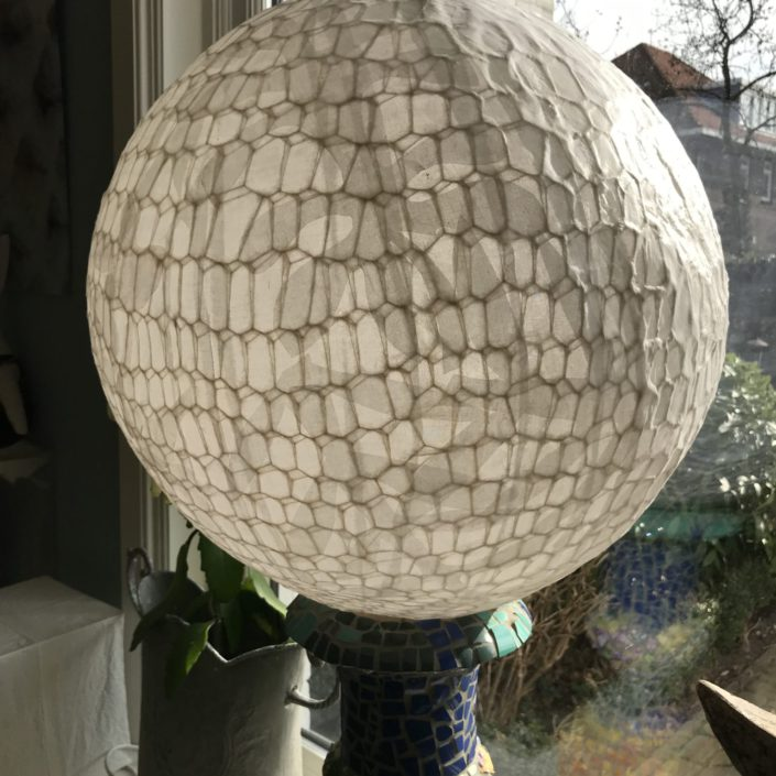 Lamp gemaakt van dunne angora wol gemengd met zijde - Rond model.