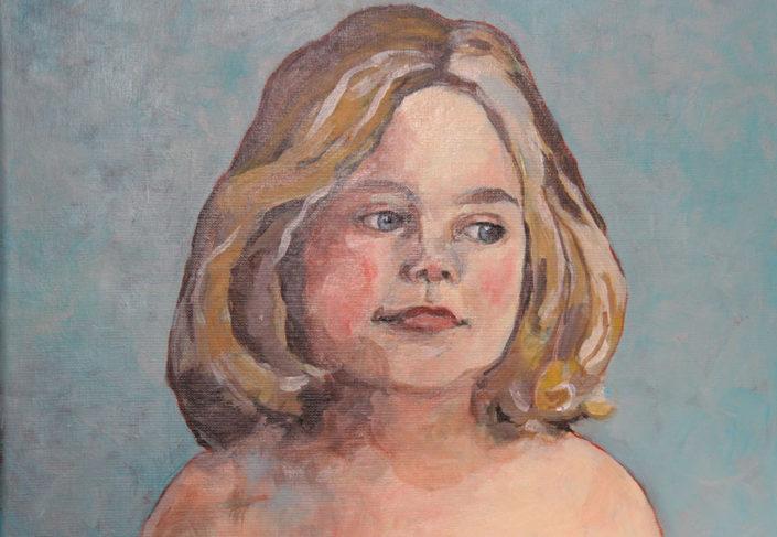 Kinder portret - Olieverf op doek - 50 x 40 cm - Kittie Markus