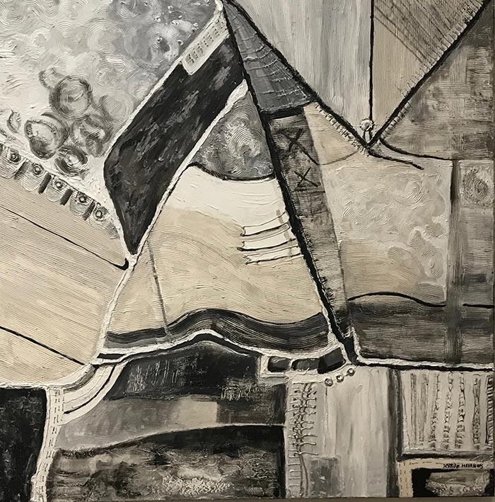Zeilen - Acryl op doek, met bladzilver details - 100 x 100 cm - Kittie Markus