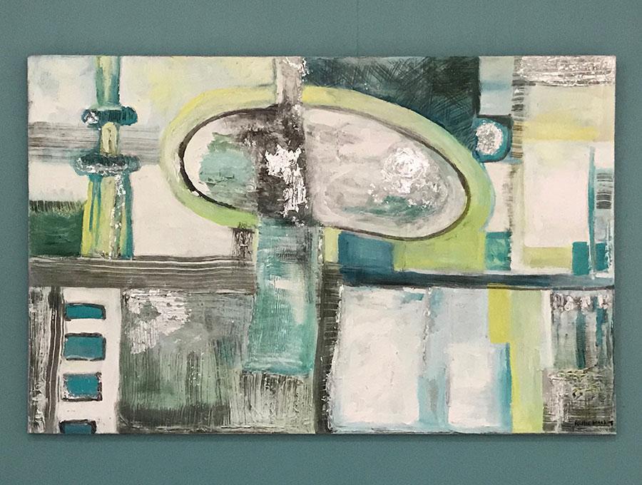 Vuurtoren licht - Acryl op doek, met bladzilver details - 110 x 70 cm - Kittie Markus