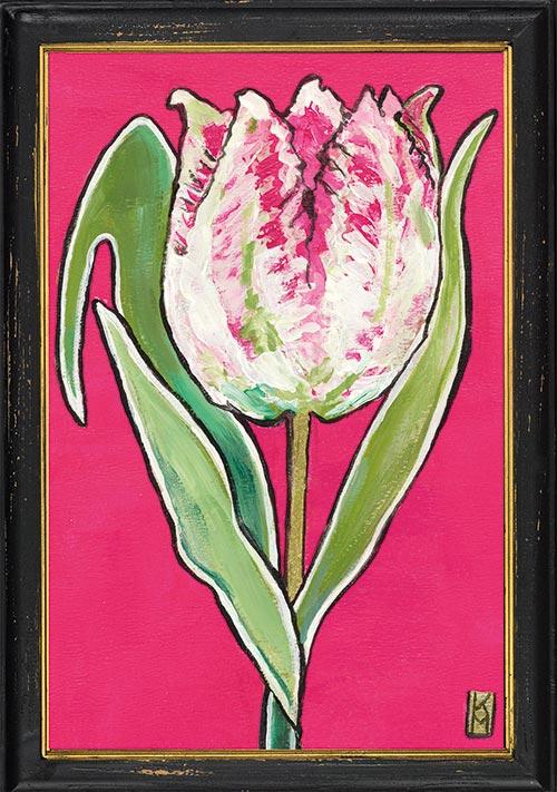 Roze papegaaitulp in lijst, geschilderd door Kittie Markus